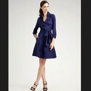 Diane Von Furstenberg Rosina Wrap Dress Navy Blue